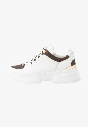 COSMO TRAINER - Matalavartiset tennarit - optic white/brown