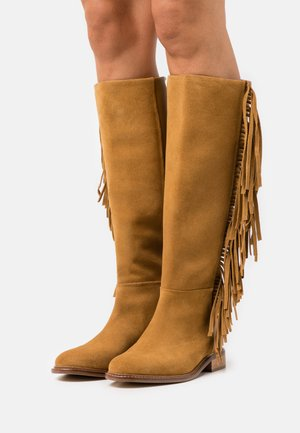 STIVALE TACCO BASSO CON FRANGE - Cowboy/Biker boots - sigaro