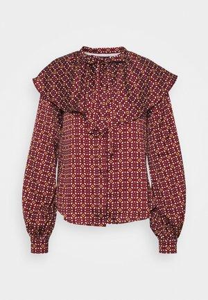 RUFFLE NECK  - Blouse - maroon mosaic