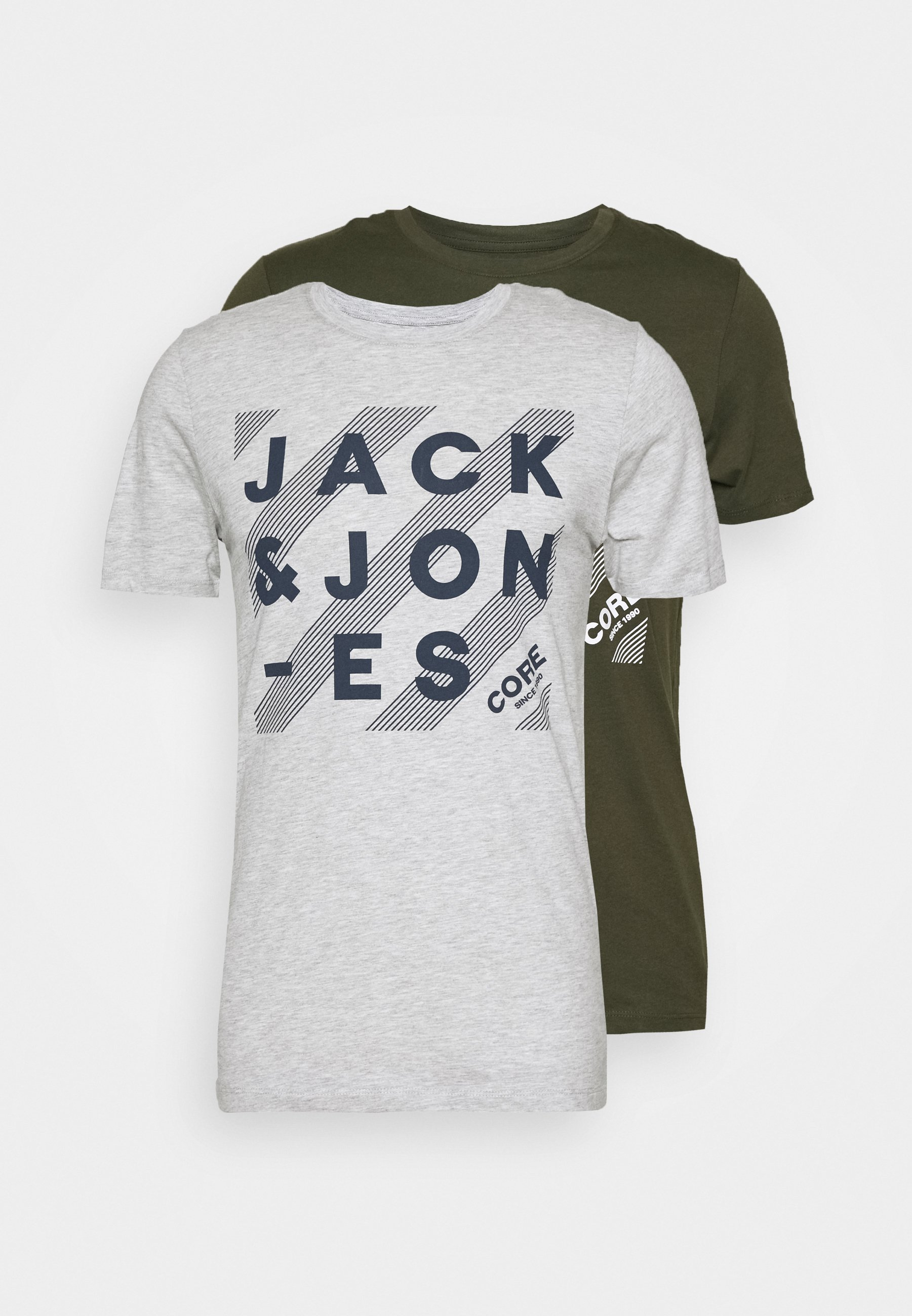 Jack & Jones Jjhero Tee Crew Neck 2 Pack - T-shirts Med Print Forest Night