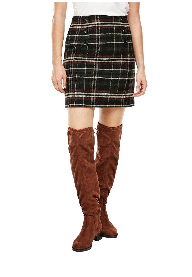 s.Oliver - A-line skirt - khaki check