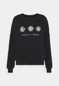 Printed Crew Neck Sweatshirt - Sweatshirt - black