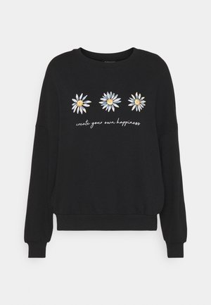 Printed Crew Neck Sweatshirt - Sweatshirts - black