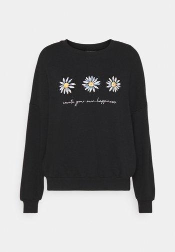 Printed Crew Neck Sweatshirt - Sudadera - black