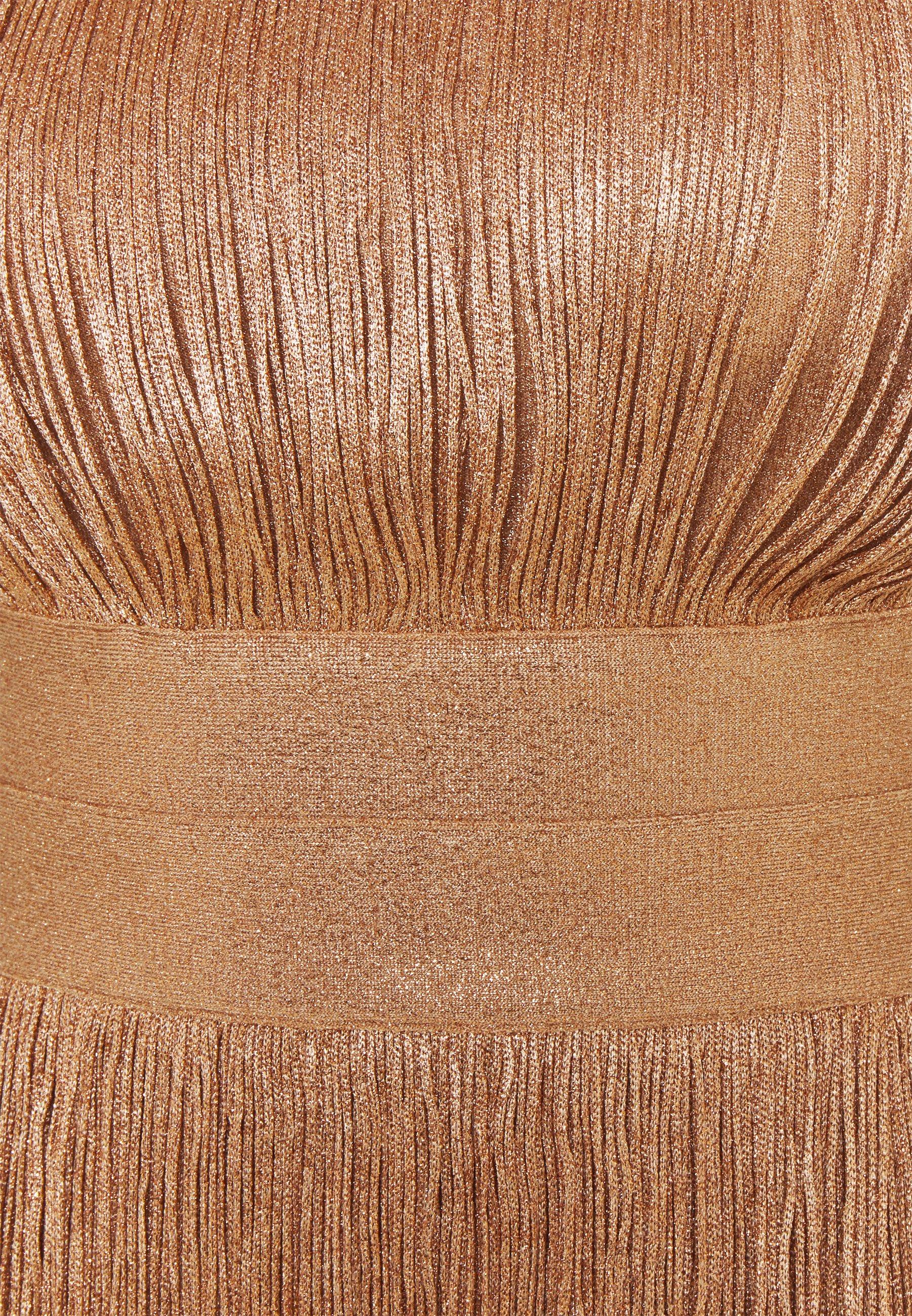Hervé Léger HIGH NECK FOIL FRINGE DRESS Cocktailkleid/festliches Kleid gold