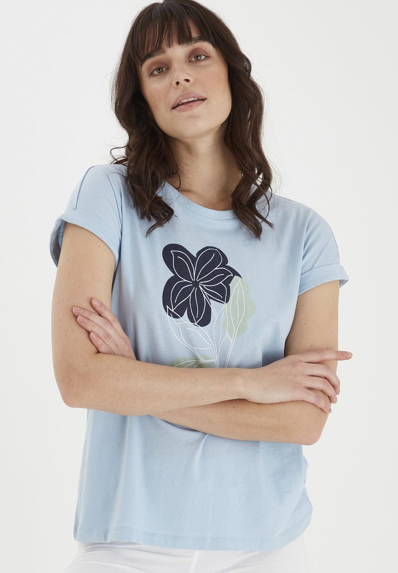 Fransa - MIT FLORALEM PRINT - Print T-shirt - cashmere blue