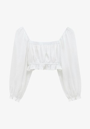 MIT SCHNÜRUNG - Long sleeved top - white