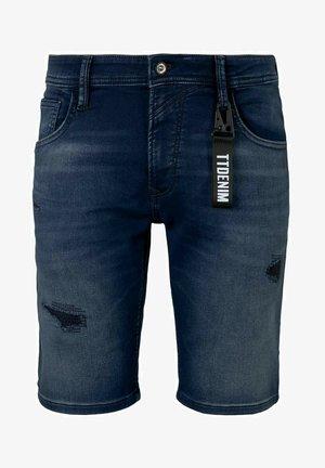 REGULAR FIT  - Jeans Short / cowboy shorts - destroyed dark stone blue deni