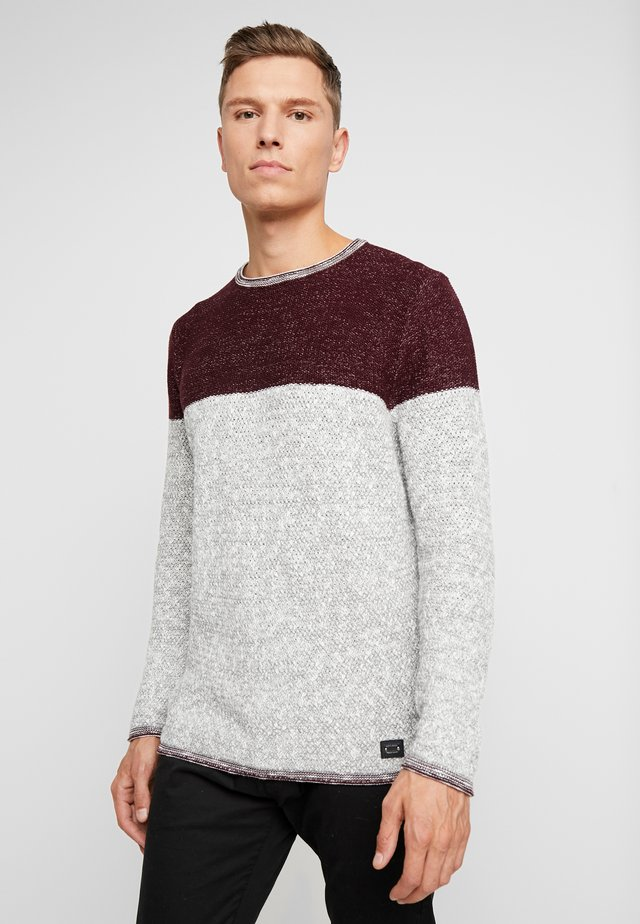 HAMILTON NEW ROUND NECK - Jumper - bordo red/silver