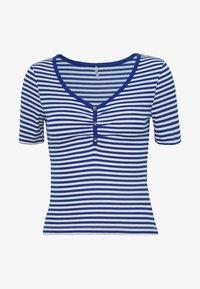 ONLTINEA PLACKET TOP PETITE - Print T-shirt - mazarine blue/cloud dancer