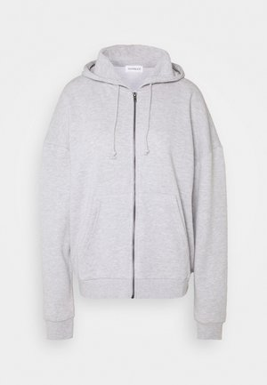 Oversized Zip Through Hoodie Jacket - Collegetakki - mottled light grey
