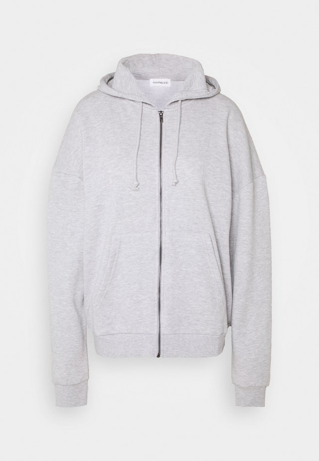 Oversized Zip Through Hoodie Jacket - Sweatjakke /Træningstrøjer - mottled light grey