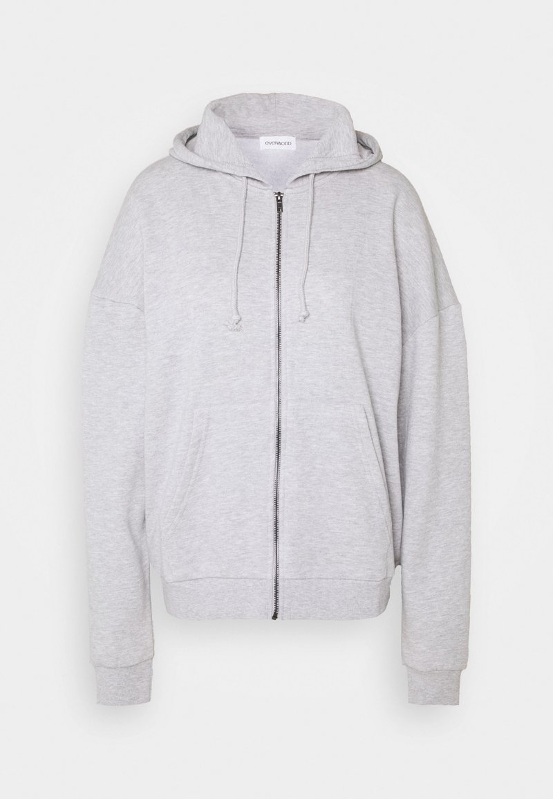 Even&Odd - Oversized Zip Through Hoodie Jacket - Sweatjakke /Træningstrøjer - mottled light grey