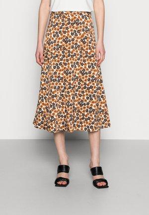 CLAIRE SKIRT - A-line skirt - cream white/cognac
