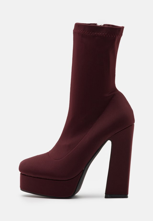 CLANCY - High heeled ankle boots - burgundy