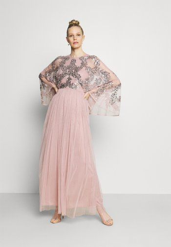 CAPE SLEEVE MAXI DRESS WITH FLORAL EMBELLISHMENT