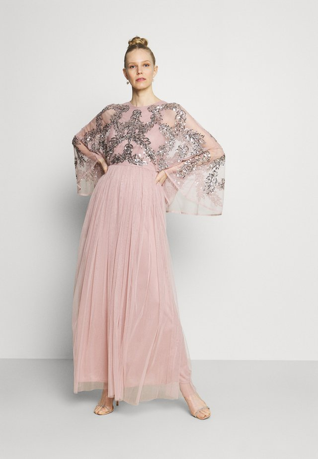 CAPE SLEEVE MAXI DRESS WITH FLORAL EMBELLISHMENT - Suknia balowa - frosted pink