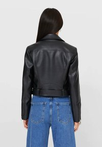 Stradivarius - Faux leather jacket - black - 2