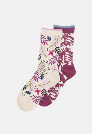 NELLY FLORAL SOCKS OTOMI FORAL SOCKS 2 PACK - Sokken - cream/ mauve pink