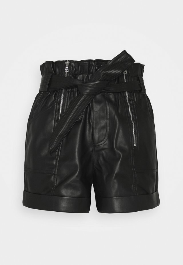 ZIP AND SELF BELTED  - Shorts - black