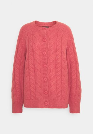 CABLE CARDIGAN - Cardigan - coral