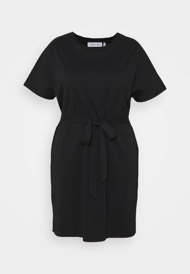 CAP SLEEVE MINI DRESS - Robe en jersey - black