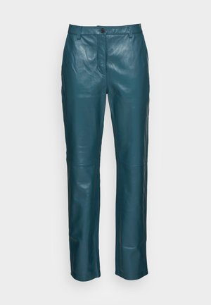 FIONA TROUSERS - Leather trousers - dark teal