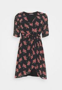 Missguided Plus - DITSY WRAP OVER DRESS - Vestido informal - black - 0