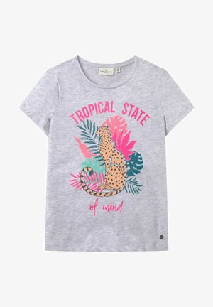 PLACED PRINT - Print T-shirt - evergray melange|gray