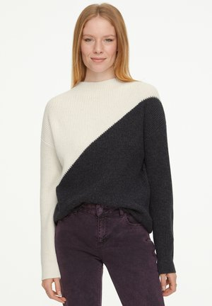 Jumper - dark grey colorblock knit