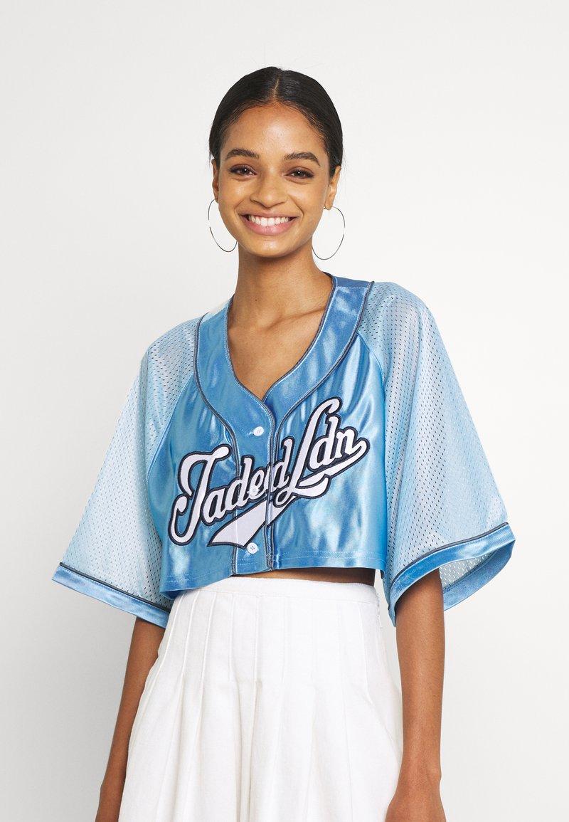 Jaded London - CROPPED BASEBALL SHIRT - Blouse - blue