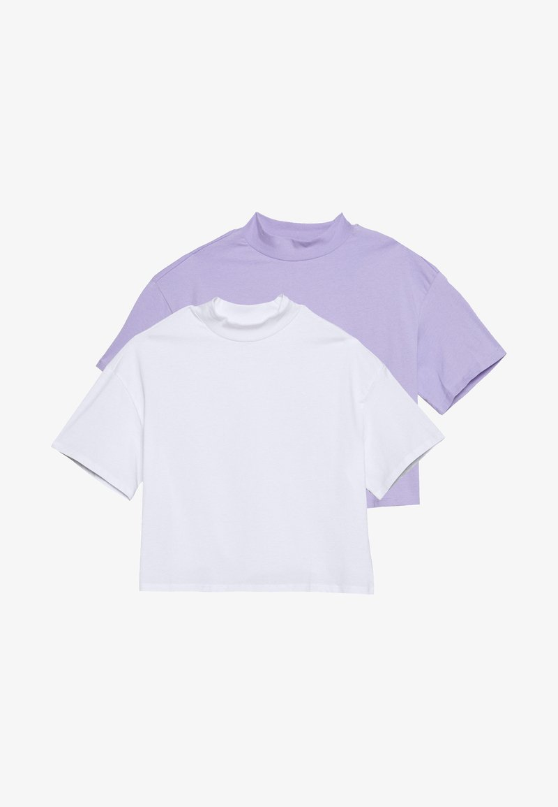 Monki - INA 2 PACK  - T-shirts - lilac/white