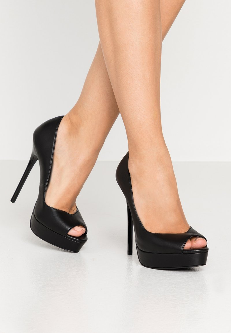Even&Odd - LEATHER - Høye hæler med åpen front - black