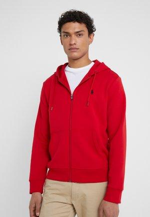 DOUBLE-KNIT FULL-ZIP HOODIE - Zip-up sweatshirt - red