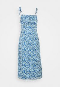 Missguided - TIE STRAP RUCHED BUST MIDAXI FLORAL - Day dress - blue - 4