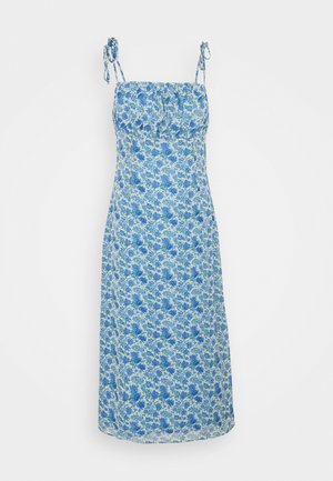 TIE STRAP RUCHED BUST MIDAXI FLORAL - Vestido informal - blue