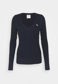 Abercrombie & Fitch - ICON CABLE VNECK - Jumper - navy - 4
