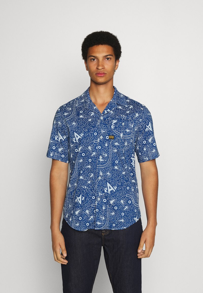 G-Star - BRISTUM 1PKT SERVICE STRAIGHT SHIRT S\S - Shirt - deep true blue batik