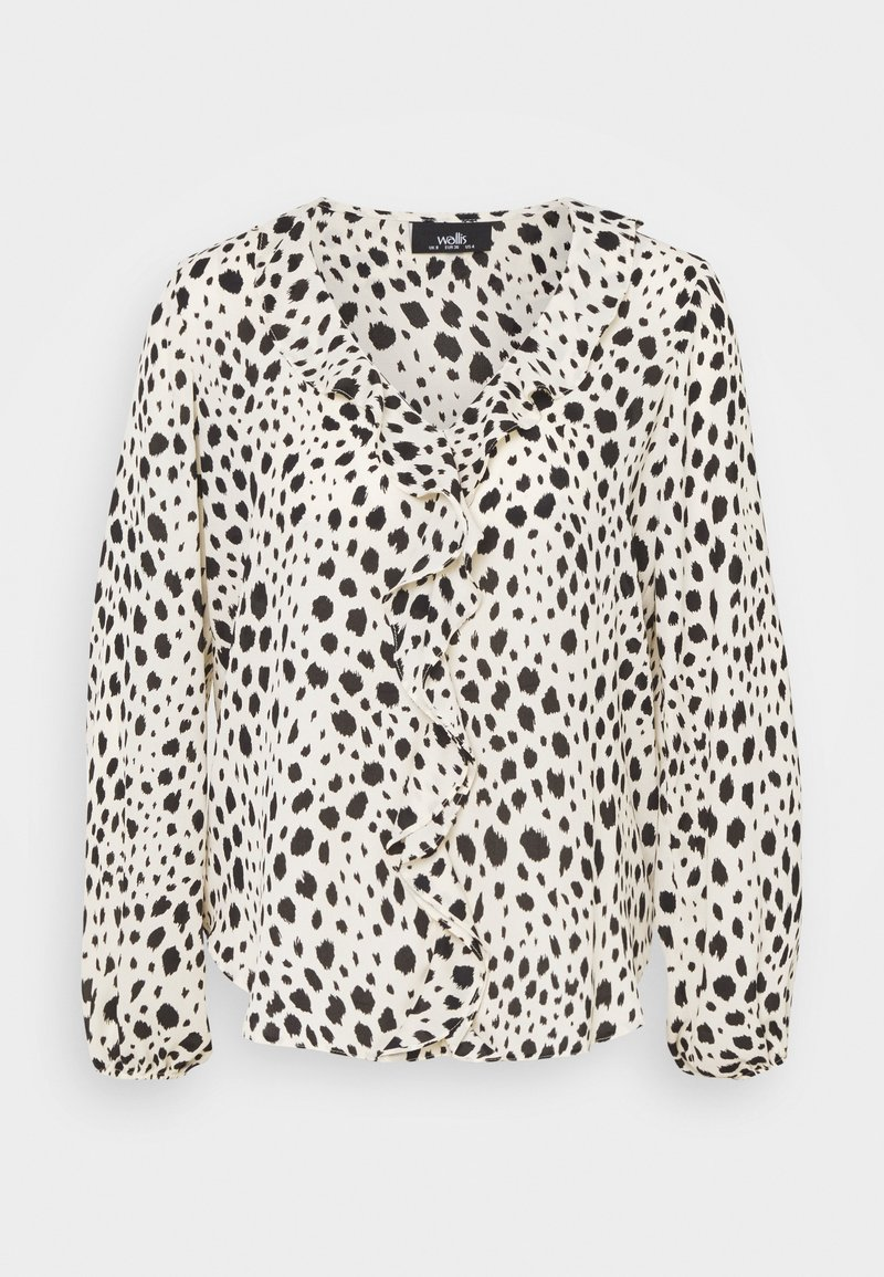 Wallis - NATURAL DALMATION BLOUSON RUFFLE TOP - Blouse - offwhite