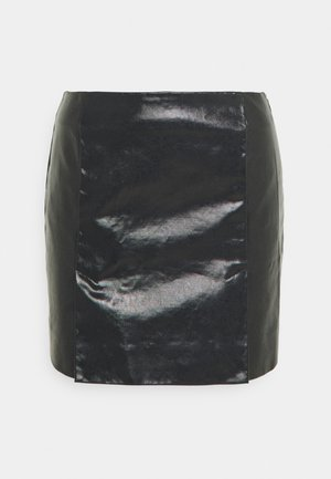 JULES COATED SKIRT - Spódnica mini - washed black