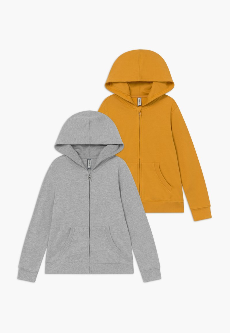 Friboo - 2 PACK - Hoodie met rits - light grey melange/mineral yellow