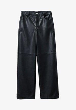MED HØY MIDJE  - Pantaloni - svart