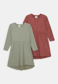 Cotton On - FREYA LONG SLEEVE DRESS 2 PACK - Gebreide jurk - henna/silver sage - 0