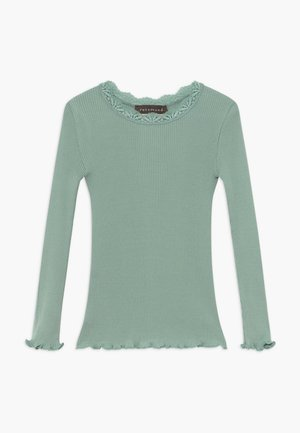 SILK-MIX T-SHIRT REGULAR LS W/LACE - Langærmede T-shirts - green lake