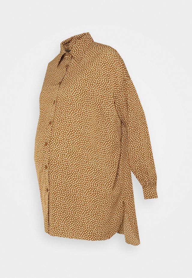 Button-down blouse - rust/cream