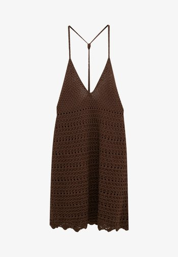 MIT TRÄGERN - Gebreide jurk - mottled light brown