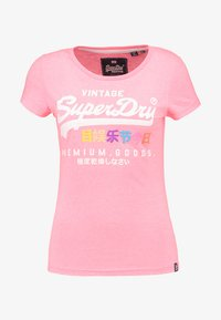 Superdry - PREMIUM GOODS PUFF ENTRY TEE - T-shirts med print - neon pink snowy - 4