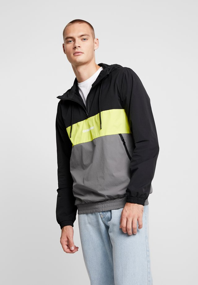 SHORE HOODED OVERTOP - Summer jacket - dark grey/neon yellow/black