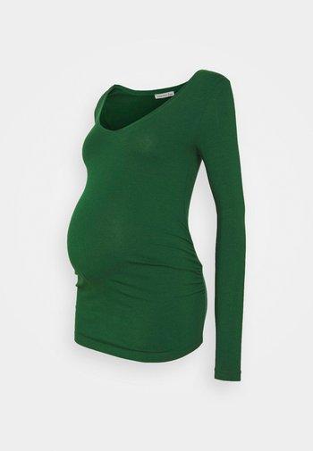V NECK BASIC LONG SLEEVE TOP - Bluzka z długim rękawem - green