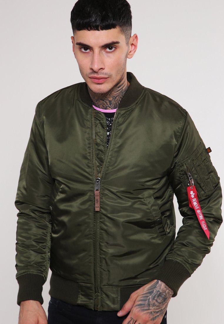 Men Bomber Jacket - dark green